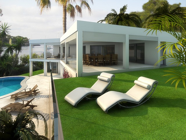 Modern frontline villa project with sea access